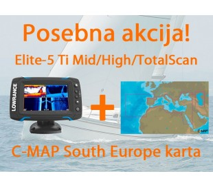Elite-5 Ti Mid/High/TotalScan + C-MAP South Europe