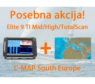 Elite-9 Ti Mid/High/TotalScan + C-MAP South Europe
