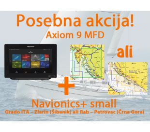 "Axiom 9, 9"" Multifunction Display z Navionics+ Small karto za prenos"