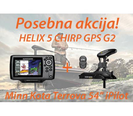 HELIX 5 CHIRP GPS G2 + Motor Minn Kota Terrova iPilot