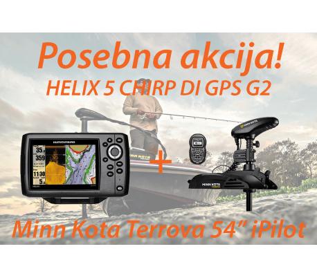 HELIX 5 CHIRP DI GPS G2 + Motor Minn Kota Terrova iPilot