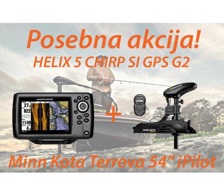 HELIX 5 CHIRP SI GPS G2 + Motor Minn Kota Terrova iPilot