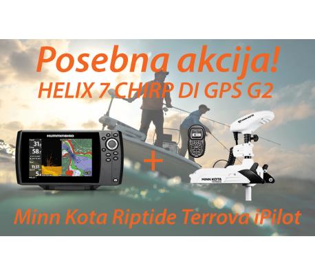 HELIX 7 CHIRP DI G2 + Motor Minn Kota Riptide Terrova iPilot