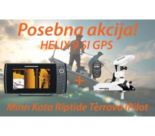 HELIX 9 SI GPS + Motor Minn Kota Riptide Terrova iPilot