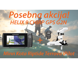 HELIX 9 CHIRP GPS G2N + Motor Minn Kota Riptide Terrova iPilot