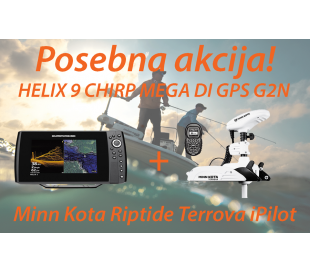 HELIX 9 CHIRP MEGA DI GPS G2N + Motor Minn Kota Riptide Terrova iPilot
